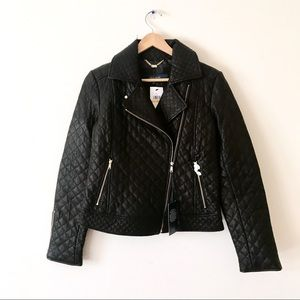 Cole Haan Quilted Motorcycle Leather Jacket NWT